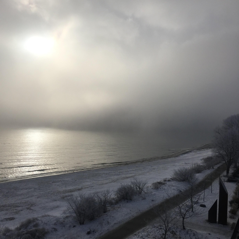 Udsigten fra mit værelse på Ystad Saltsjöbad en grå januar morgen.